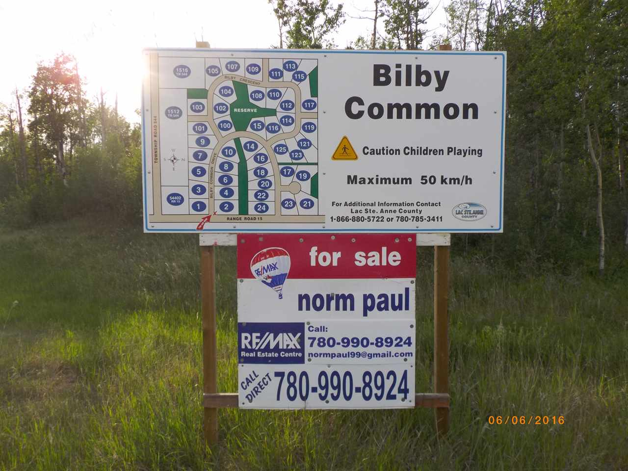 Easy 35 min from Edmonton city limits, 2 acre parcel partially backing environmental reserve,  slightly rolling land, gas & power to property line. New builds only, manufactured, modular or mobile must have concrete foundation, min house size 1200 sq ft, garages are mandatory & can be up to 30'x26'. Before you build call LAC ST ANNE COUNTY to check the Country Residential Land Use Guidelines. BILBY NATURAL AREA is 1 mi north, DEVILS LAKE is 10 min north, ONOWAY is 8 km NW, ONOWAY TO ALBERTA BEACH is 15 min. Take a look soon. BUY NOW - BUILD LATER. Make your move now. Only 3 lots left at these prices. On the subdivision map this is lot 110, LEGAL DESCRIPTION is Lot 5, Block 2, Plan 1123418.