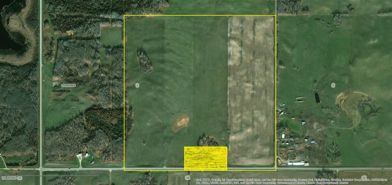 155 Acres of Crop Land along correction line paved highway Township Road 590. Currently in pasture production. Lightly rolling with perimeter and cross fencing. Grain land cultivatable for future. Excellent location with corner exposure and two sided access.
