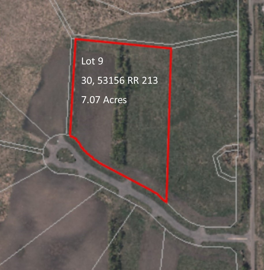 Build your dream home on this 7.07 acre parcel. Just south off of Highway 16 and Range Road 213, the subdivision is only a 15 minute drive to the Industrial Heartland of Fort Saskatchewan and a 15 minute drive to the Beverly Bridge and Sherwood Park. The landscape is very natural with lots of lightly wooded rolling hills. Ideally suited for walkout homes. The perimeter is surrounded by natural parkland and a pond in the Environmental and Municipal Reserve area. All services are underground. Power, phone and natural gas at roadway. Bring Your Offers...Seller Will Finance OAC!!
