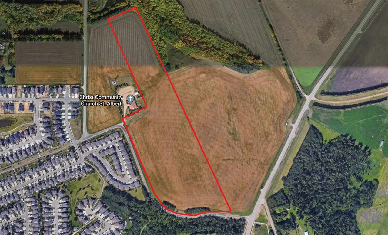 This 21.87 acre parcel sits high on the hill overlooking the Sturgeon River Valley. The new 127 street road will be 1/2 km away giving easy access to St. Albert and Edmonton. The proposed area structure allows for single and multi family sites. Full city services are across the street. Show and sell with confidence.
