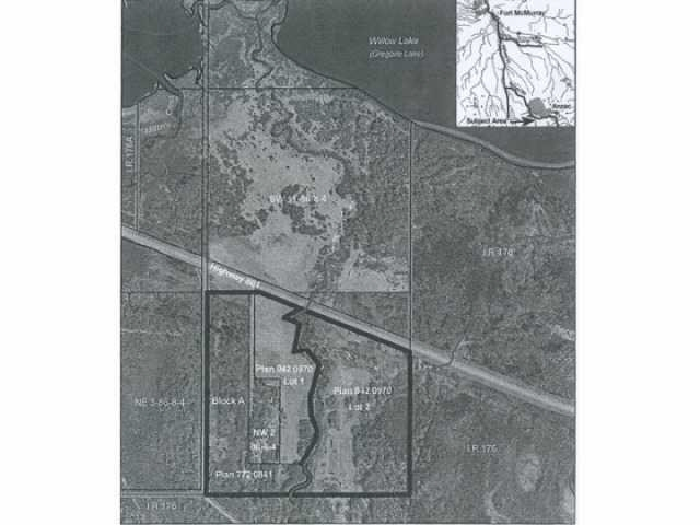 Brand new business industrial subdivision located between Anzac and Fort McMurray right on Hwy 881 about 10 kms East of Hwy 63 right at Morris Creek. This is a 2.47 acre parcel of land with power and gas at the property line. This is part of a 42+/- acre subdivision. All lots are priced to sell. This is lot 4 and it has exposure to Hwy 881.