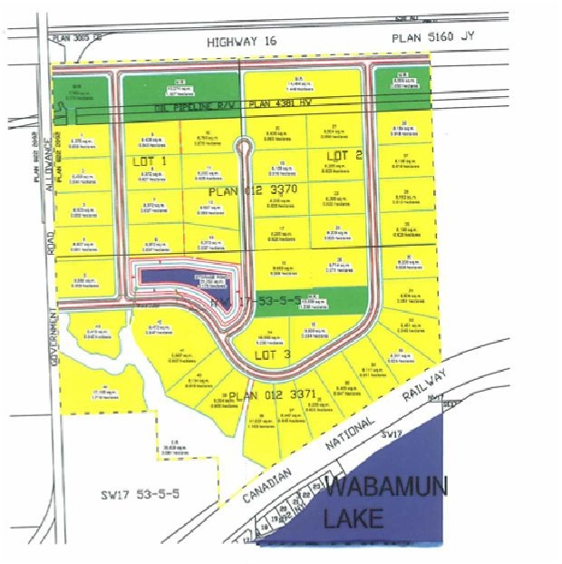 Awesome opportunity for investor or developer. Close to Lake Wabamun and all it has to offer, boating, swimming, golf & more. This property includes 3 parcels of land, lots 1,2 & 3, which must be sold together as one. Situated on the north side of Lake Wabamum and running along Highway 16, west side bordered by RR 55, which will lead you to Lakefront road and into town and access to the boat launch and the lake. Southside has a spectacular view overlooking the lake. East side has a tree border running along rural property. This is a great piece of property which has already been zoned for country residential. The 3 lots total 153.95 acres with potential of over 40 lots, each lot being at least 2 or more acres. A great spot to build a Country residential Sub-Division. GST will be applicable.
