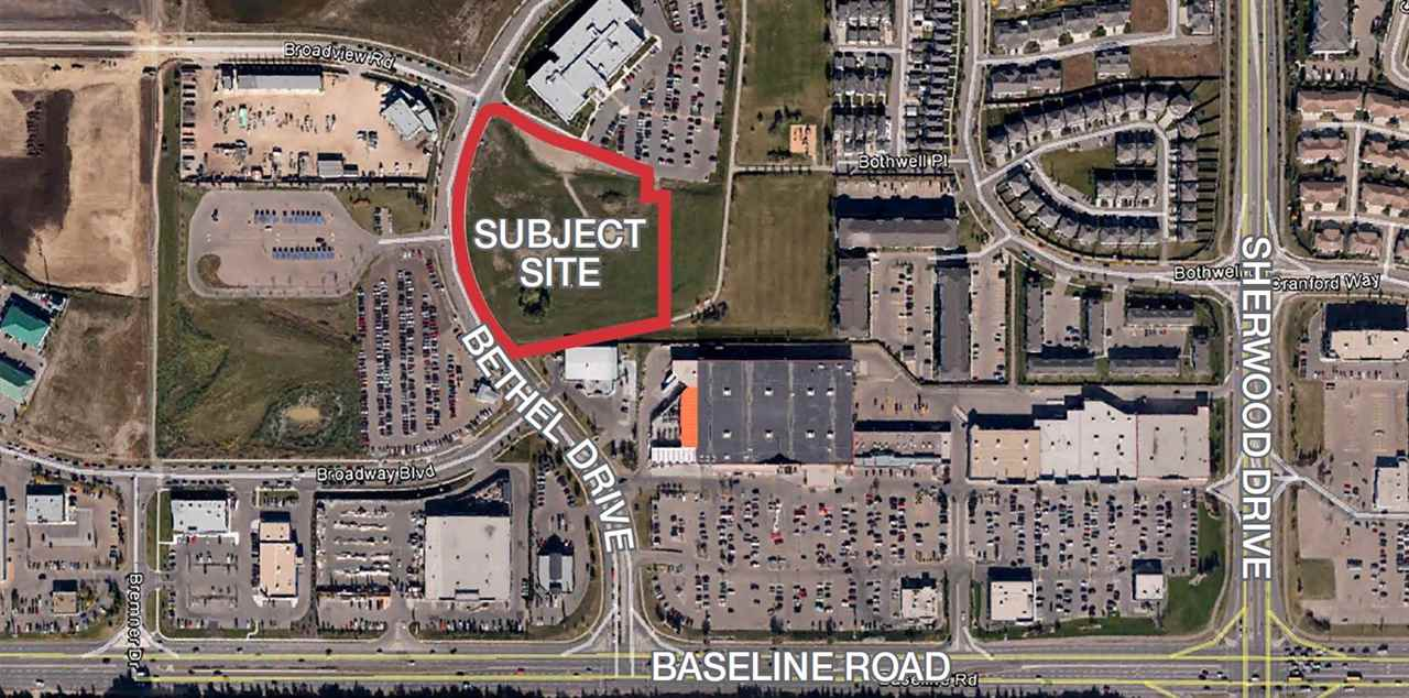 4.63 acres of development land located beside the Synergy Wellness Centre site and across from the Bethel Transit Terminal. The property has easy access to Baseline Road, Lakeland Drive, Broadmoor Blvd, Yellowhead Trail and Hwy 21. The site is zoned C5 (Service Commercial)