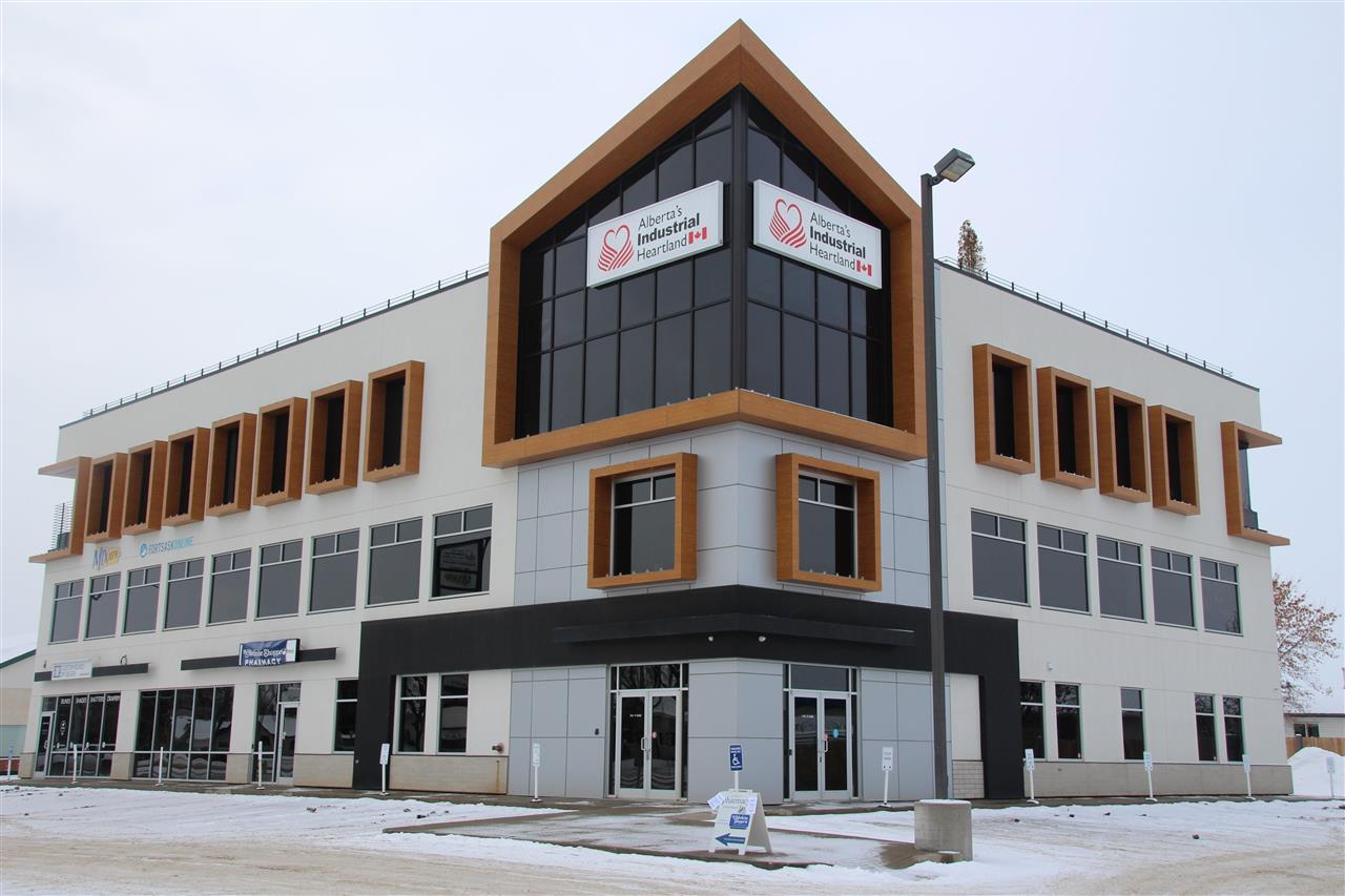 "Multi-tenant Professional building. Available 3rd floor space is up to 5,000 sq. ft. and 2000 sq.ft.  on the Main floor. Including 2 vehicle garages. Space required can be created to suit the tenant's needs. Located on the main street to Old Fort Saskatchewan, next to an ATB  branch and Dollar Store Fort Saskatchewan Movie Theater is behind this building. The 3 story building has an elevator and a fitness center on the main floor. There is very nice roof top patio set-up for numerous uses, or for use by the staff for lunch breaks or just relaxing.  Several existing ""high end"" tenants are already established in this attractive, modern building i.g Pharmacy Store, Radio Station & etc .  Signage available to advertise tenants. There is space on the main floor for a retail business, i.e. registry business, Medic Center, and more."