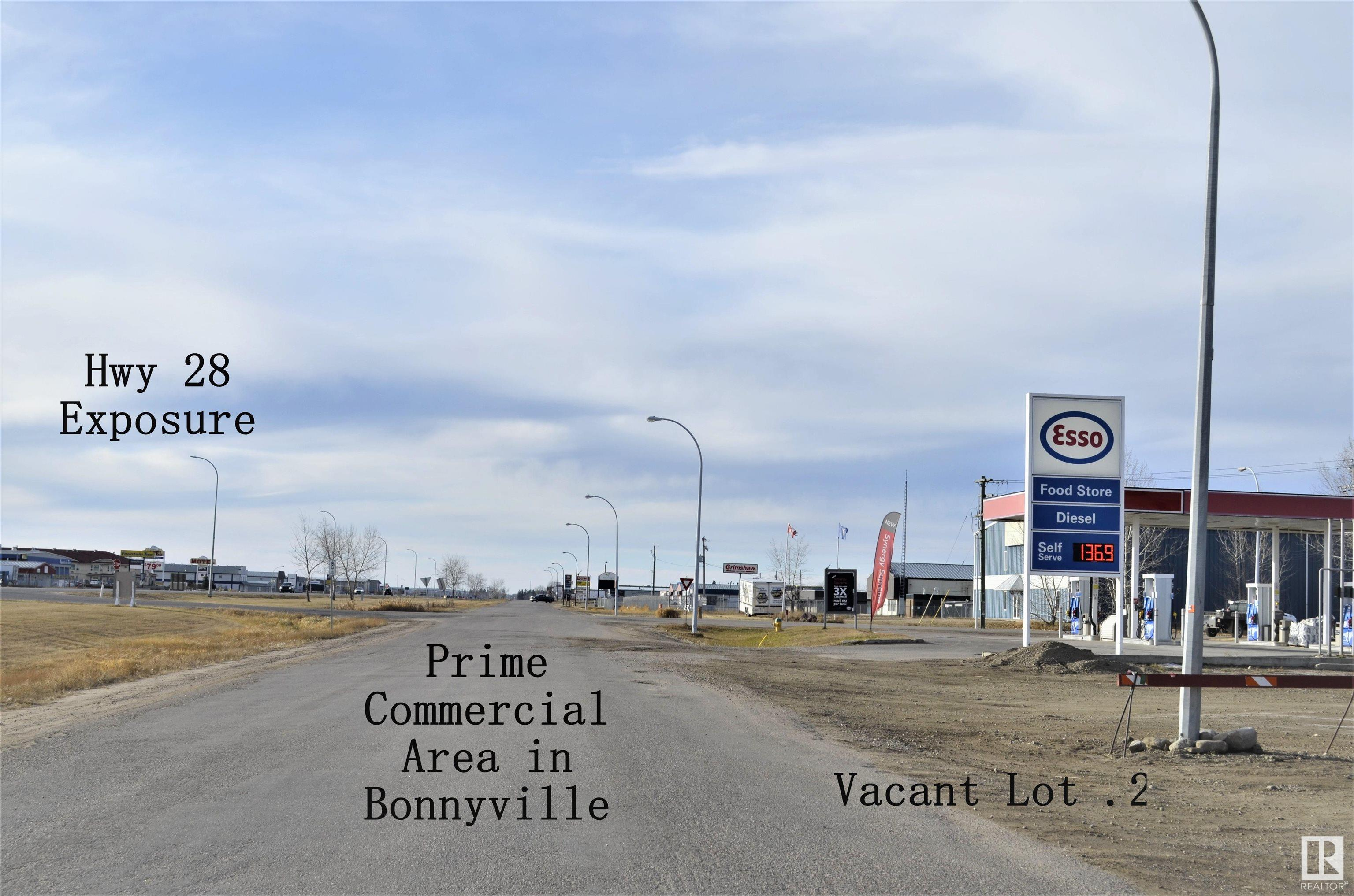 """Located next to the commercial building known as the 'Wetlander"""" which is also for sale. Huge highway 28 / main street exposure, it is a great investment for a variety of businesses to set up on. This vacant lot is located on the 58 St service road coming into Bonnyville adjacent to the ESSO gas station. Fifty feet of high traffic exposure by 200 feet deep. Go direct to view."""