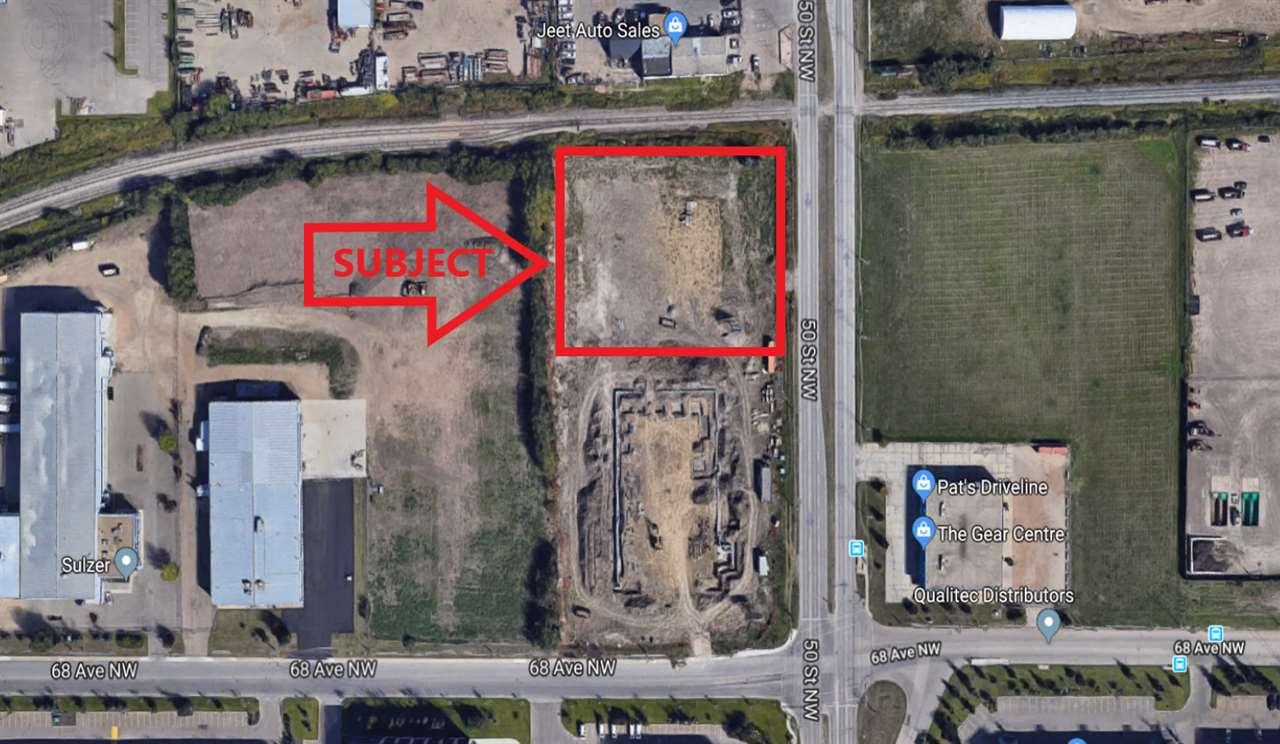 Approximately 1.768 acres, more or less, of fully serviced prime exposure land facing 50 street at 68 Avenue with IB zoning. Subject to final subdivision. Preliminary site work completed with services brought into site from road. Build to Suit option is available.
