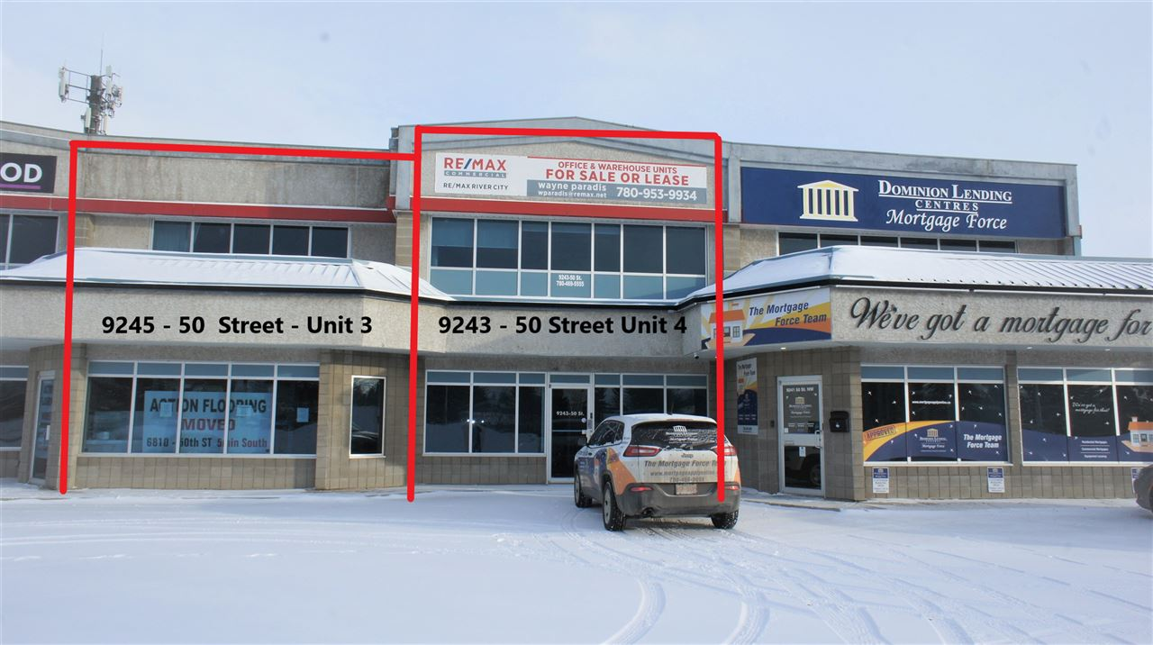 FOR SALE OR LEASE. Attention Business owners/Investors! High Exposure, single bay Industrial Business condo on 50 Street offering 4054 sf of open office/showroom space. 2293 sf on main and 1761 sf on second floor. 20'5'' ceiling heights in open areas.Load bearing mezzanine storage and a small warehouse component at the rear with a 12'x 14' grade loading door.  Condo Fees are $1023.64/month for this unit.