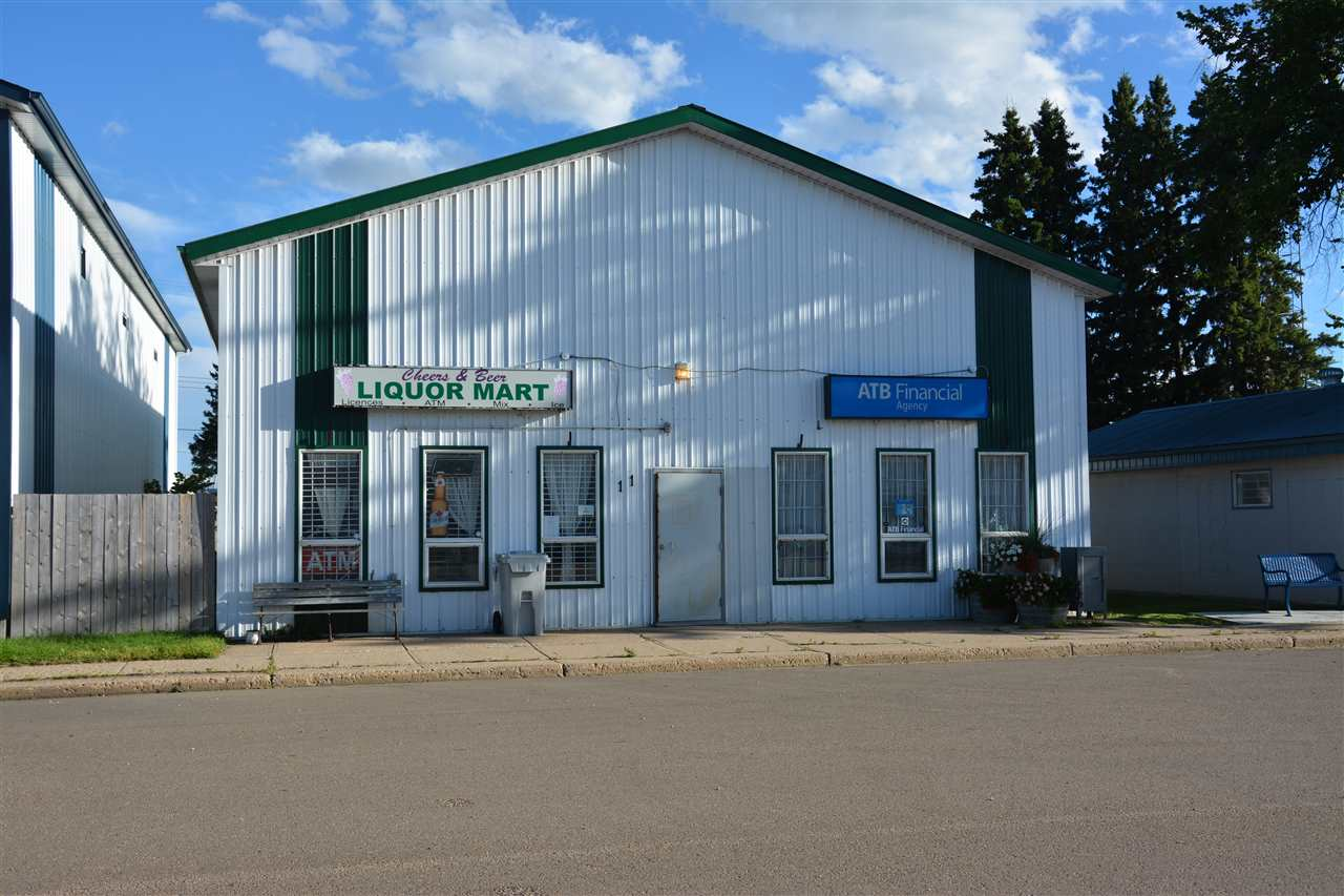 Flex Commercial building in the heart of Hay Lakes, along the high visibility Main Street corridor. This 2002 built, well maintained, property features 2x8 construction, metal cladding, LED lighting throughout, efficient in-floor boiler heating system, rear grade level 20x14 ft loading door, engineered steel mezzanine for additional storage and office space. Currently home to an AGLC licensed retail liquor store, as well as an ATB financial branch, this building is well suited to a variety of commercial uses, including retail, office, light industrial, etc.
