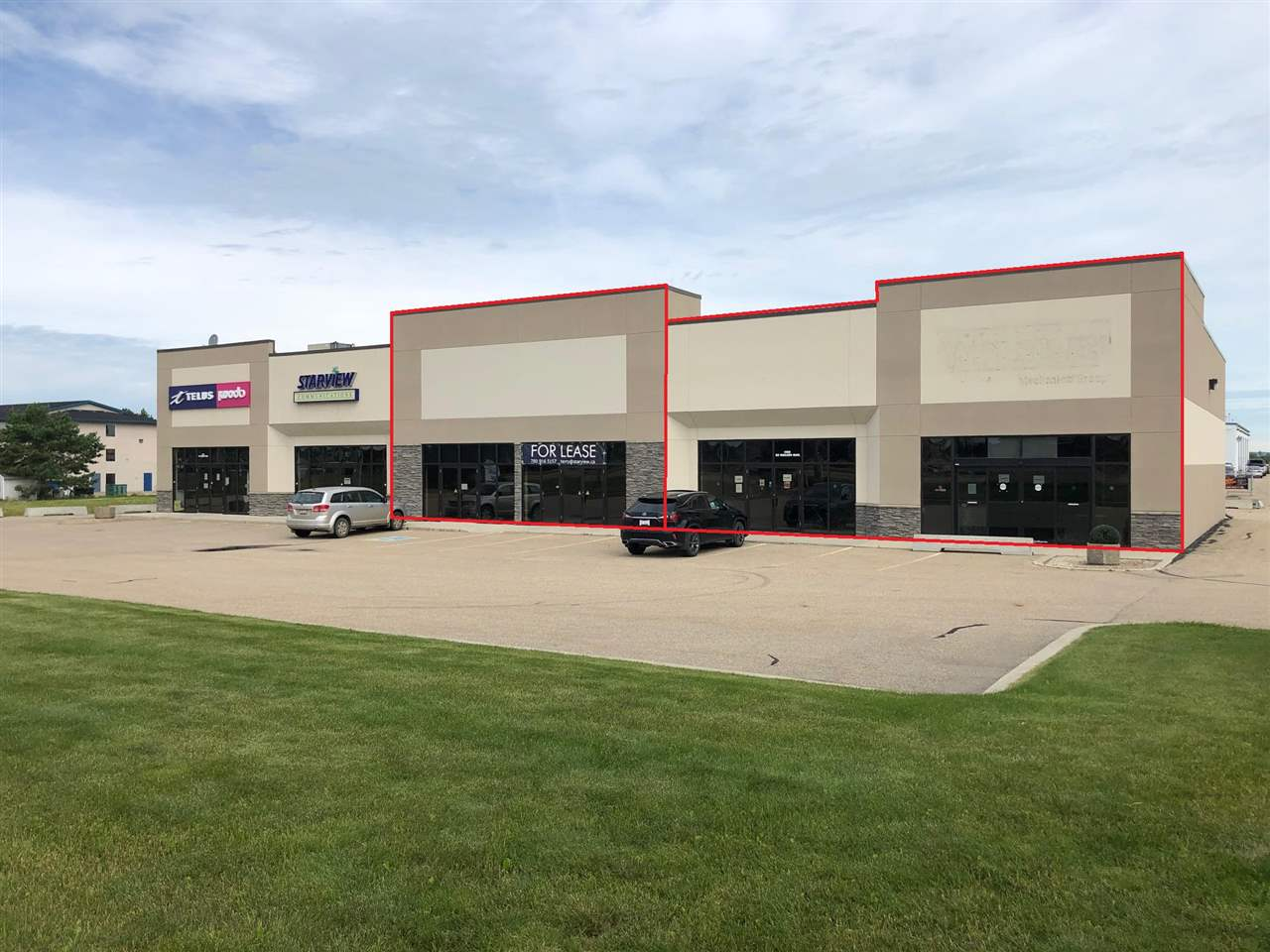 Quasi retail/industrial building on 1.3 acres. Almost fully paved lot, direct exposure to Highway 16A (24,920 AVPD). Surrounded by retail, hotel and industrial uses. Pylon signage with digital component. 2,750-6,250 SF available to occupy whether for owner user or for lease. 2,750 SF bay features open showroom and office, small mezzanine office and the balance warehouse with one 10' x 14' overhead door. 3,500 SF bay can be demised, currently all open showroom with two washrooms, one 8'x8' overhead door and a 30'x24' fenced compound behind the bay. Rooftop HVAC (all replaced in 2019), separately metered, high ceilings.