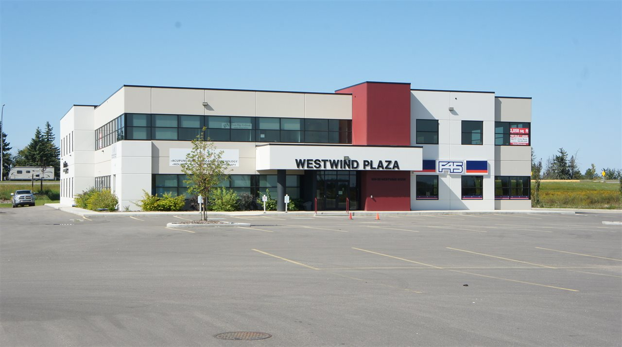 FOR LEASE/FOR SALE. Westwind Plaza is a New precast concrete professional office building fronting Century Road, a major access point to Spruce Grove off of the Yellowhead Hi-way and part of the large Westwind Centre developmen area. This second floor office offers 2401 sf with and the potential to combine and additional 2061 sf in an adjacent unit. 12' ceiling heights, elevators and men's and ladies common washrooms on second floor in place. Multiple options in size configurations for individual units ranging from 1577 sf to 2400 sf in the project that can be combined for larger users. A great mix of medical, wellness, fitness, professional office and child services users already in place in what will be a major commercial business development area. Plans for the area include a major rec/entertainment facility, transit station, hotels and significant retail and office components, some which are already well underway and occupied by major tenants.