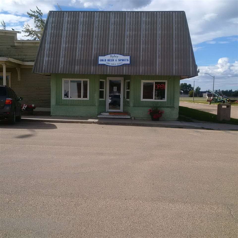 Golden opportunity to own a commercial building with land and liquor store on Main Street in Ryley, Alberta. Ryley is approximately 45 minutes east of Edmonton along Highway 14. Large extra space at back of liquor store with loading bay and wash room. Lots of potential with this large space for extra revenue stream. Building has metal roof, upgrades electrical 110 and 220. Newer furnaces and building was reinsulated. Be your own boss! Now is a great time to buy!