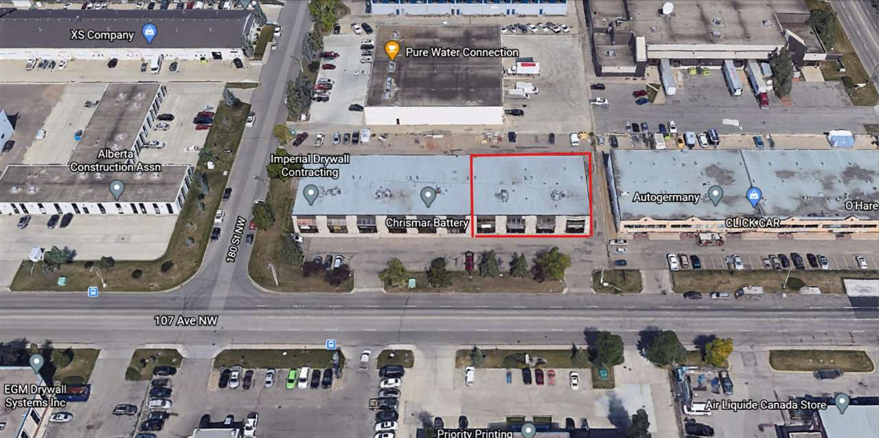 "Excellent 107 Ave West Edmonton location! This is a great opportunity for several different types of businesses. There are 4 separately titled 2040 sq. ft. bays in a row. The building fronts directly onto 107 avenue and there is a lot of drive by traffic. Currently units 16, 17 & 18 have a built out show room and about 2080 sq. ft. of finished mezzanine, offices and kitchen area. This formally owned Granite Showroom and Shop offers many possibilities for a small to medium sized business. Recently reduced price. There are 4 14 foot doors, 20 foot ceilings, 3 phase power and a newer tar and gravel roof. Unlimited parking in the back of the building. Sold as is where is. You can also buy all 4 bays at a discounted price of $337,500 per bay. Total for all 4 bays $1,350,000.The owner says bring ""OFFERS"". Show and sell with confidence."
