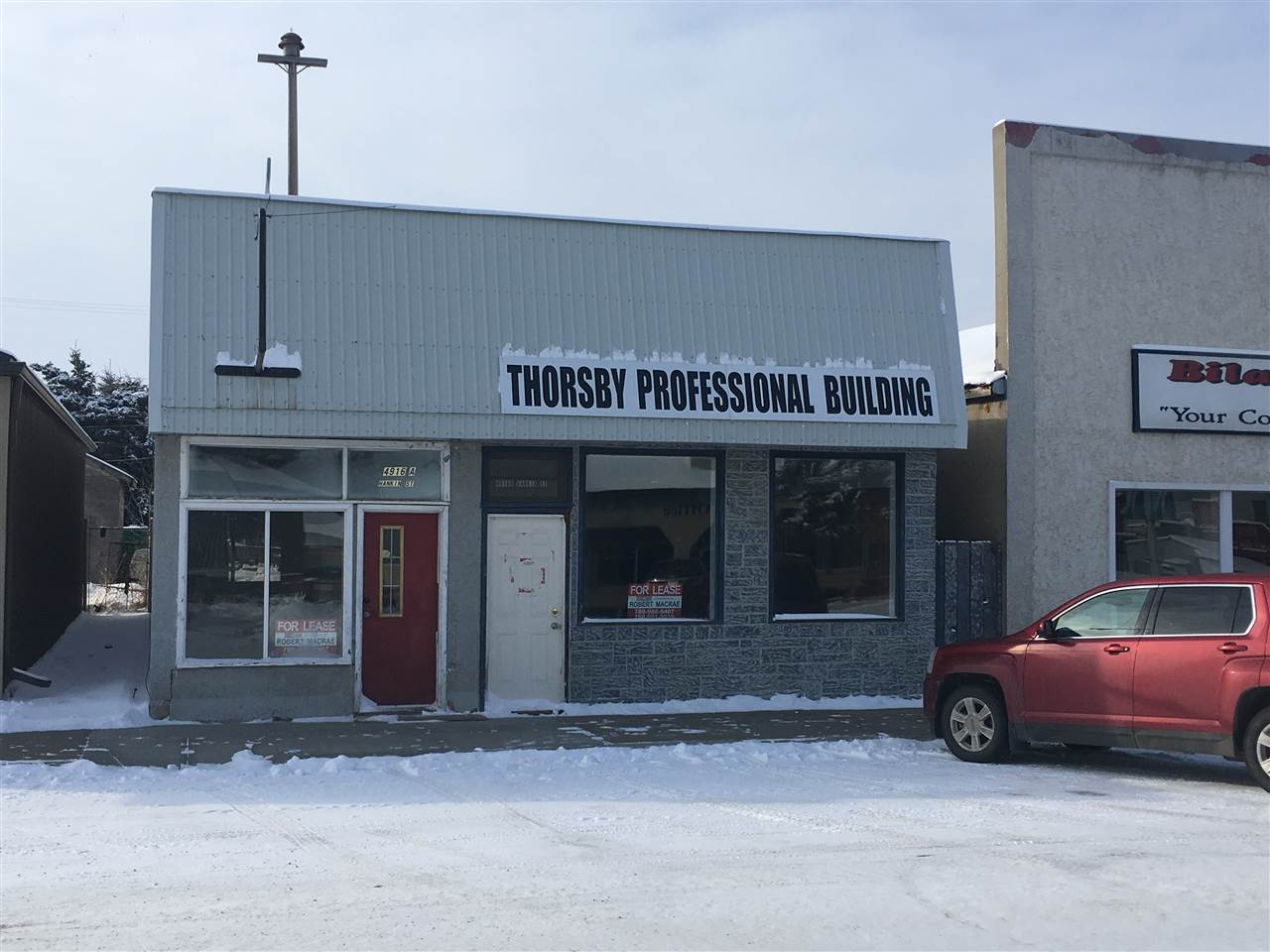"A solid 2010 SQ FT cement block building situated on the main business strip in Thorsby. Affordable business location - 24 minutes from Leduc.  The building is divided into 2 separate areas with 2 address's, individual front entry's, separate furnace and gas meters, common water and bathroom / coffee room area. Rear lane access and parking. Ideal set-up for a vape AND Cannabis retail dispensary.  South side is approx 1400 SQ. FT. with storage and rear building access. North side approx. 490 SQ. FT. Both sides have frontage traffic exposure. New metal roof in 2019. Quick possession, Vendor will consider "" lease to own"". Either or both sides can be leased as well @ $.75 psf/ month plus utilities."