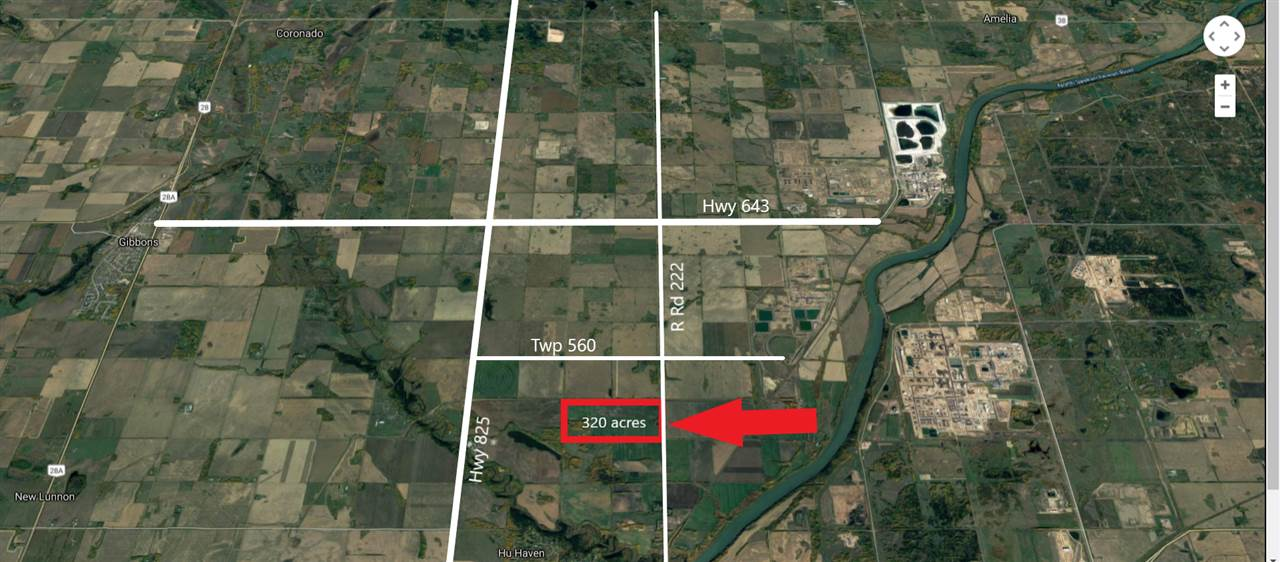 80 acre flat and level land parcel within the Heavy Industrial (IHH) zoning in the Sturgeon Heartland.  Two adjoining parcels of 80 and 160 acres can be combined with this site for a total of 320 acres. See MLS Numbers E4232904 (160 acres) and E4232913.   One mile east of Hi-way 825 this site is kitty corner to the CN rail line and new rail distribution yards operated by Cando Rail, one mile south of the Pembina and Suncor land holdings.  Income from Manderley Turf Products in place until March 2023 that can be terminated in the event of a sale if needed.  Older 2 bedroom basementless bungalow of approximately 1300 sf and several older outbuildings on the 3.41 residential site of this 80 acre parcel.  Drilled well and 1500 gallons of water cisterns, dual septic pump out tank.