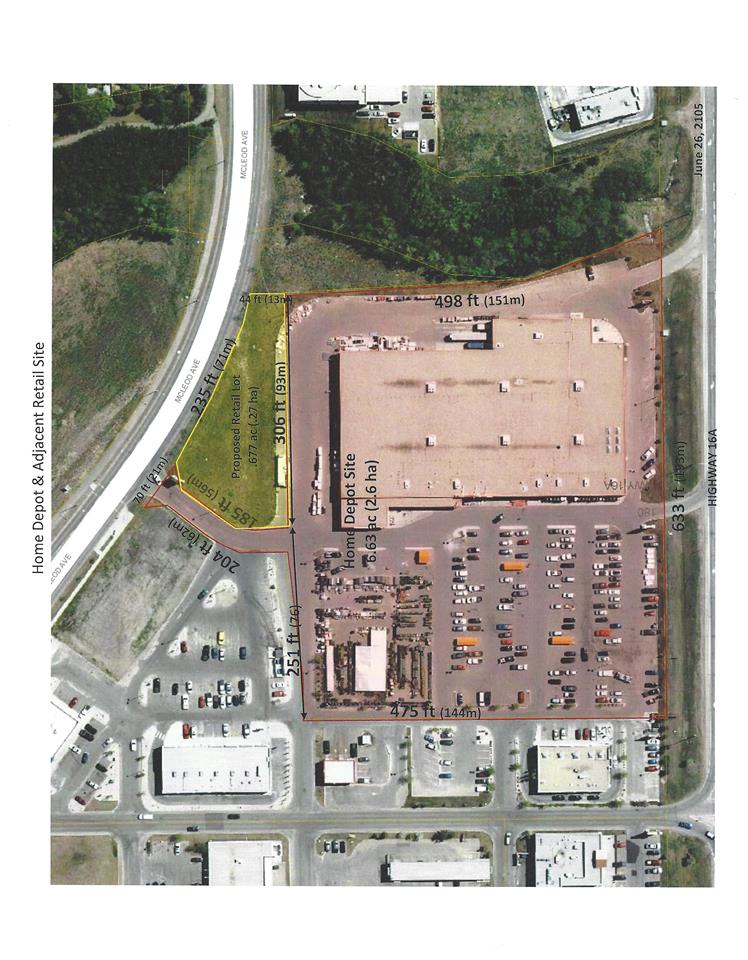 Rare opportunity - .67 acres (35,560 sq ft) of vacant land zoned C2 (Vehicle oriented commercial district) located in Spruce Grove on busy McLeod Avenue adjacent to Home Depot and a block from Hwy 16A, Jennifer Heil Way, Superstore and minutes to Hwy 16. Two restrictive covenants apply to the title. Endless applications for permitted plus discretionary uses. An opportunity to build to suit your specific business application. Ideally suited for professional services, drive through childcare and more.