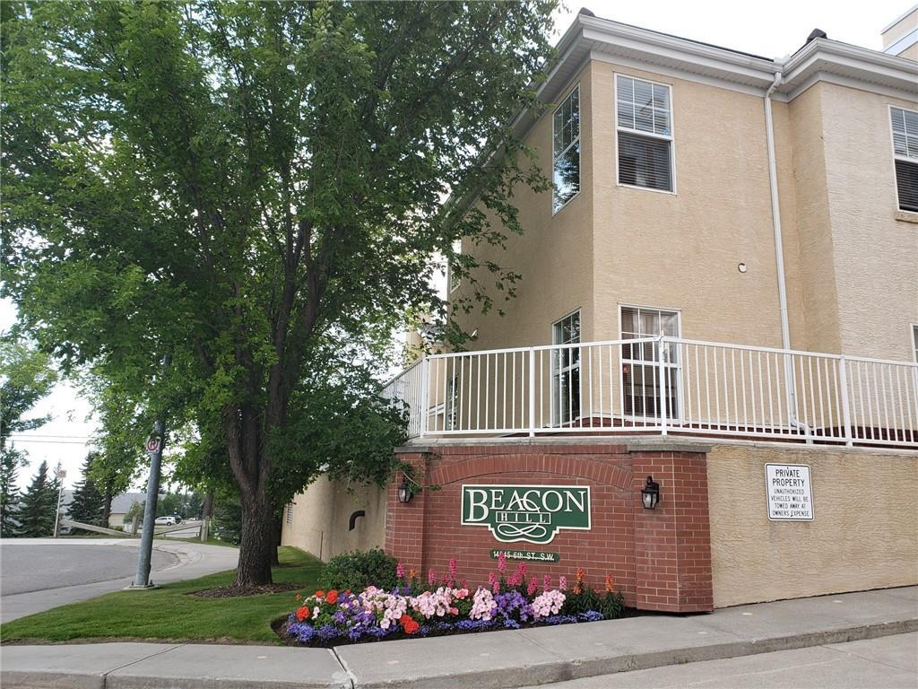 Excellent TOP FLOOR  1 bdrm + Den unit with open 9 foot ceiling floor plan. Den is certainly large enough to  be used as a 2nd bdrm.  1 4 pce ensuite and an additional 2 pce bath, in-suite laundry room and corner gas fireplace. Kitchen is large with island and eating bar, plenty of cabinets and counterspace. Spacious deck area with gas line for the BBQ. Enjoy the early morning sun with great views over the SE part of the city and the incredible landscaped gardens throughout the main entrance of the complex. Building amenities include, social room with full kitchen, fitness room, underground parking and storage area. Walking distance to South Fish Creek LRT station.