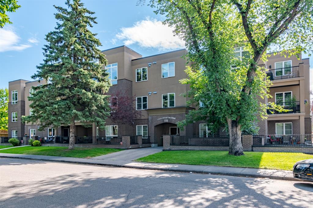 Amazing location in Parkdale! This 2 bedroom 2 bath condo is just 1 block away from the Bow River pathway system along Memorial Drive. Walk to Lic's Ice Cream or the Lazy Loaf for lunch! Market Mall, U of C, Foothills Hospital, Kensington & downtown are all just minutes away as well.  This incredible main floor, corner unit features a private patio to enjoy the sunshine! Inside find a large entryway, tile & laminate flooring, 9'ceilings, granite counters throughout the kitchen & bathrooms, and an open concept main living area. The kitchen is perfectly appointed with a Whirlpool stainless appliance package, tile backsplash, tons of counter & cabinet space, and a breakfast bar for informal seating.  There is plenty of room for a dining table if desired and a cozy gas fireplace completes the bright & sunny living room. The 2 bedrooms are on either side of the unit allowing for some privacy. The spacious master suite has a walkthrough closet and 4pc ensuite bathroom. A main 4pc bathroom serves the large 2nd bedroom. This condo is complete with a titled underground parking stall and separate titled storage unit. With neutral colours and finishes, large windows & great natural light, and water/sewer/heat included in the condo fees - this condo is a must see!