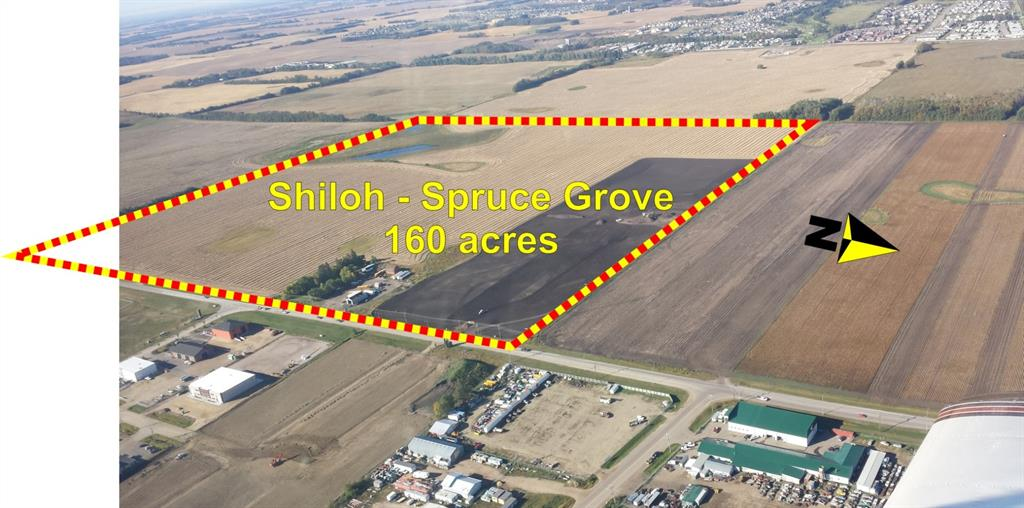 160 acres (157 acres on main title plus an additional 3 acres on a separate title) located in the southwest quadrant of the City of Spruce Grove. Complete with approved Area Structure Plan (ASP) to allow development of residential lots, and a small commercial site on Campsite Road. This community named Shiloh is ready to start staged development.
