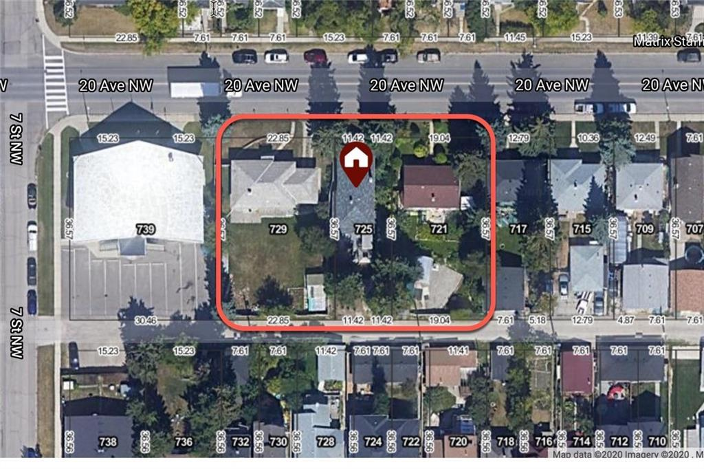 1/2 ACRE LAND ASSEMBLY IN MOUNT PLEASANT! Opportunities like this don't come along very often. The three lots involved are 721, 725 and 729 20 Ave NW. The lots are all 120ft deep with a combined frontage of 175ft for a total of 21,000 ft2! They are all currently zoned R-C2 but have passed first reading by City Council for M-C2 zoning subject to Development Permit Application. This means M-C2 has been approved in principle but they would like to see a DP application prior to final approval.  These properties are also in a prime location for several other increased density zonings as supported by both the standing internal community policy re 20 Ave, and as part of the new North Hill Area Redevelopment Plan scheduled for Q1 2021. Check out the City of Calgary website for more info on the NHARP.   721 -  has an existing  2 bedroom bungalow in good shape. The owner would be interested in renting the house for at least a year. 725 - has a 3 bedroom up 2 bedroom down bungalow with an illegal basement suite and separate entrance.  729 - has a 2 bedroom up 1 bedroom down bungalow.  Call, text or email for more info these properties and the details regarding the current M-C2 zoning application.
