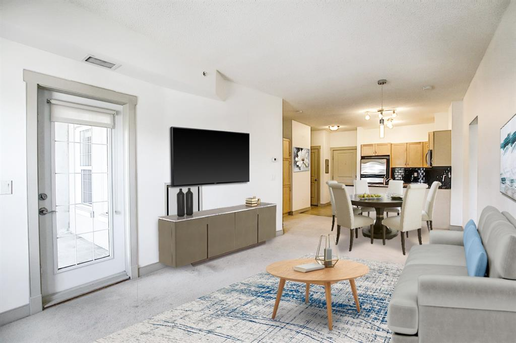 """PRICE IMPROVEMENT! (Check out the 3D Tour) Convenience and modern design in this 2 bed,+den, and 2 baths in a rare and desirable corner unit! Welcome to Gateway SouthCenter! This well-maintained condo complex boasts in-suite laundry, Air-Con, and all utilities included (A/C, Power, Heat, Gas) as well as BBQ gas hookup on the ample sized covered deck! The Open floor plan features 9"""" ceilings while the Kitchen boasts granite countertops, stylish cabinetry & stainless steel appliances. This corner unit has much more light than most of the units in the building and although the complex is pet friendly, this condo is pet-free & smoke-free. Gateway offers fantastic amenities, including underground, heated parking (stall #141), storage unit, fully equipped gym & yoga room, 2 party rooms for family gatherings, as well as 2 suites available for your overnight guests. This is a great location, that is just steps to transit, LRT, Restaurants and Pubs, Southcenter Mall, Fish Creek Park & minutes to downtown. There is also a large courtyard.  Book your private showing today!"""