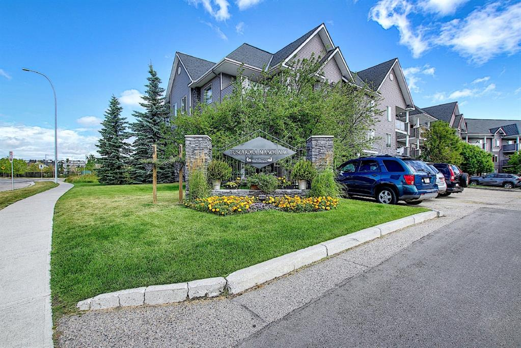 ~Welcome to Desirable Community of Tuscany~ 1018.9 SQFT. GROUND FLOOR CORNER unit Facing South West Bright & Sunny Apartment within Walking Distance to TUSCANY C-Train Station Ideally located close to ALL Amenities Schools,Tuscany Market,CROWFOOT SHOPPING, UNIVERSITY OF CALGARY, Stoney trail ! This Spacious 2 Bedrooms, 2 Full Baths Condo offers Great Open Floor Plan & Sunny South West Facing Exposure, Your Spacious Living Room is Flooded with lots of natural light w/ access to Covered Balcony, Your dining area is just off the kitchen and has enough space for a large table,Your new kitchen Boasts a decent amount of white Cabinetry, Spacious Master Bedroom  & 4 pc Ensuite Bath, Spacious Second Bedroom & Ensuite bath, In-Suite Laundry & Storage, One Titled UNDERGROUND HEATED PARKING  & ONE OUTDOOR ASSIGNED PARKING Stall?  All Utilities (Electricity, Heat & Water) are included in Condo Fees. Walk to Park & Tuscany Trails  Move-in Ready, Call Today!