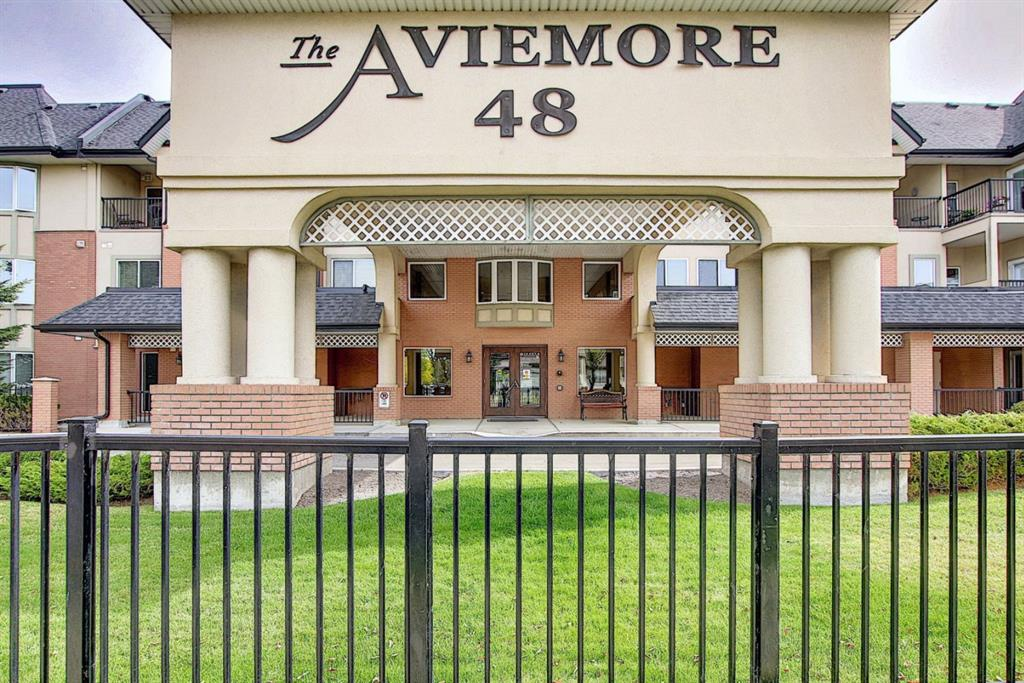 Luxury living in a beautiful top floor unit with views of inverness pond and the rocky mountains. The Aviemore is nestled in the heart of Mckenzie Towne. All amenities and transit are within walking�distance. This complex has it all including�Library, Fitness room, Games room, Theater room, Wood�shop, Car wash, Banquet room with full kitchen and BBQ area, Puzzle room, Sitting/Card room,�Bike�storage and two overnight guest suites. The south facing unit includes an open concept living room,�dining and kitchen. The living room has an elegant corner fireplace and bay window and is�open to the kitchen with its wood cabinetry, stainless steel appliances and pantry. The master�bedroom can fit a king size bed comfortably, walk through closet�to a large five piece en suite. The�second bedroom is on the other side of the unit and has a Murphy bed and is beside the four piece�bath. Spacious foyer, in suite laundry, heated underground parking with storage what else can you ask for? Fantastic unit to call home! Pets�allowed with board approval in this 55+ building.�Book your�showing today!