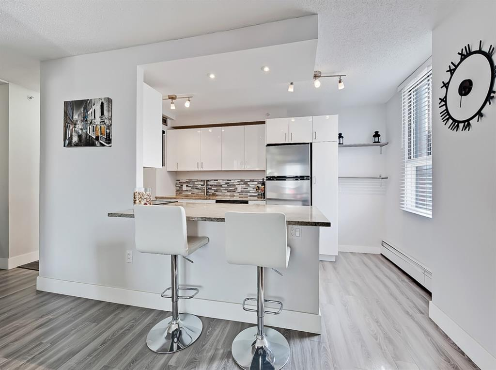 Come and check out this fantastic Beltline Condo! This condo is a dream for a first time buyer or investor ? just move in, nothing needs to be done.  The location is incredible, just steps away from all of the Shopping and Amenities you could want including restaurants, pubs, banking, groceries, shopping, the list goes on and on. Walk to the C-train, walk downtown, or work from home and take a break and grab a treat anywhere on trendy 17th Avenue.  Everything is at your fingertips in this location. This 3rd floor, corner unit is updated with grey and white colour palette, open concept design, kitchen island, stainless steel appliance package, in suite laundry, and an underground titled parking space. Decent condo fees of under $500/mth make this is amazing value in the Beltline. For all the pet lovers who have a fur baby or have always wanted one; this complex allows pets (with board approval).  Call your favourite Realtor to book your showing today!