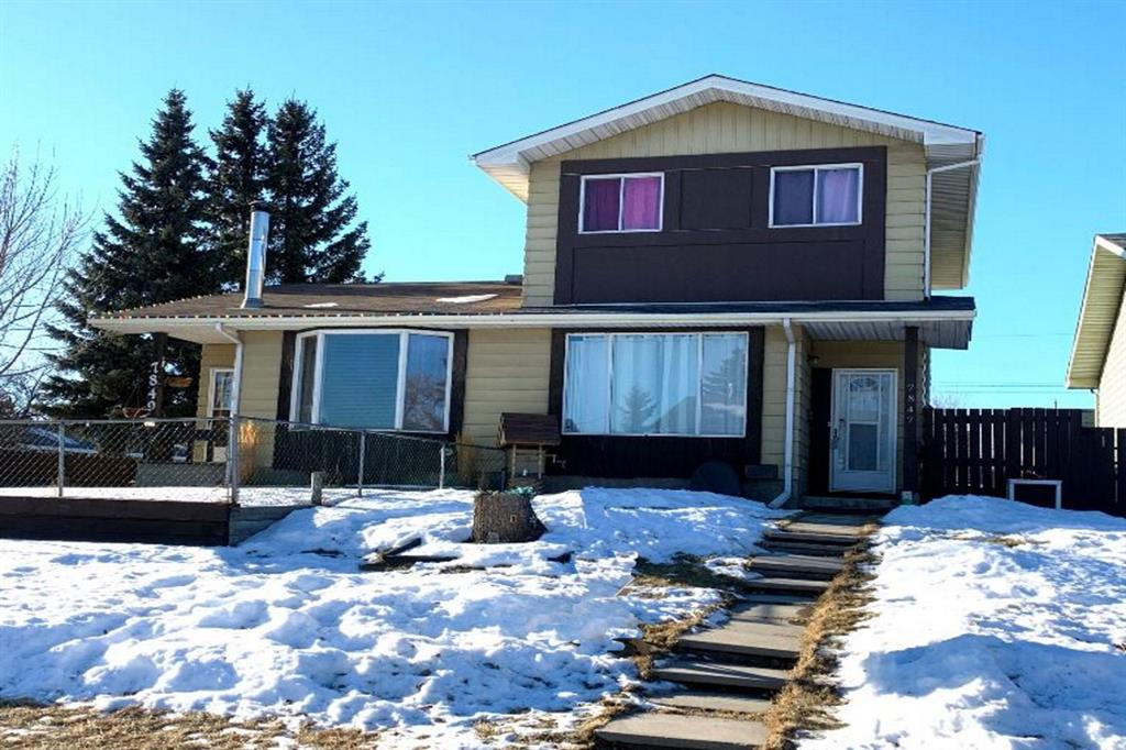 UPDATED! Beautiful 2 storey home within a short distance to schools, shops, restaurants, churches, parks, pathways, Bow River & much more! Main floor features NEW 2020 laminate & refinished slate flooring entrance along w/ NEW 2020 interior paint & light fixtures. Large living room on main w/ NEW 2020 gorgeous 2pc bath, spacious dining room & kitchen w/ freshly painted white cabinetry, NEW 2020 countertops, NEW 2020 sink & fixtures, stone backsplash & newer appliances(2017). Upper level offers 3 nice size bedrooms w/ masters large closet, a 4pc bath w/ heated flooring & plenty of natural light. Basement offering spacious family room, laundry room, tons of storage throughout & currently awaits your creative ideas. Great front & backyard landscaping w/ NEW 2020 large deck & fence, bike shed, storage shed, green space, carport & an additional parking spot. Shingles 2017. Must see!
