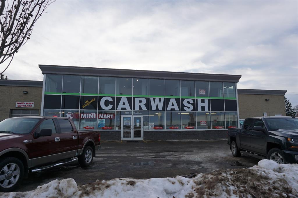 GOOD VISIBILITY FROM KINGSWAY NW. IT IS A NICE BUILDING WITH 4  LEASABLE RETAIL/OFFICE BAYS, 11 WANDWASH BAYS, 2 NEW TOUCHLESS BAYS & U-HAUL. THE BUILDING IS A CONCRETE BUILDING WITH 12,000 SQ FT ONLY 14 YEARS OLD.  HUGE REDEVELOPMENT AREA JUST THE OTHER SIDE OF A ROAD. BLATCHFORD RE-DEVELOPMENT IS AS FOLLOWS. 536 ACRES RESIDENTIAL, COMMERCIAL AND RETAIL. HOUSING UP TO 30,000 RESIDENTS. TWO LRT STATIONS, OVER 80 ACRES OF PARKS & GREEN SPACE, PUBLIC & CATHOLIC SCHOOL & NAIT. THIS PROPERTY IS LOCATED NEAR ONE OF THE MAIN ENTRANCES OF THIS NEW COMMUNITY. THE TWO TOUCHLESS CARWASH IS ONLY TWO YEARS OLD. THERE IS A LOT OF POTENTIAL.