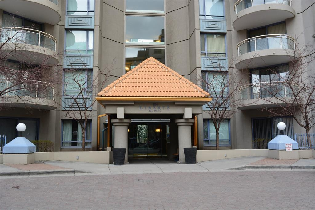 Don't  miss out on this opportunity to own an affordable  high rise apartment condo in very popular Eau Claire. Enjoy exploring the pathways of Prince Island Park, Bow River, Downtown, YMCA, Kensington. Just steps away from great restaurants and coffee shops. This fabulously functional 2 bedroom + 2 bath unit, ceramic tile floors in the foyer, kitchen and bathrooms. The large living room with a cozy gas fireplace.  Spacious dining room opens to the kitchen with classic white cabinets.  Separates the master bedroom and second bedroom providing ample private space.  Floor to ceiling windows in living room with lots of natural light, sliding door open to the south and west facing semi-circle balcony with city, mountains and river views, gas outlet on balcony. Secure underground heated title parking #64, one assigned storage locker #37 P1 on eastside included. Indoor visitor  parking is available  for your guests. Amenities in the building include a party room, exercise room & outdoor tennis court.