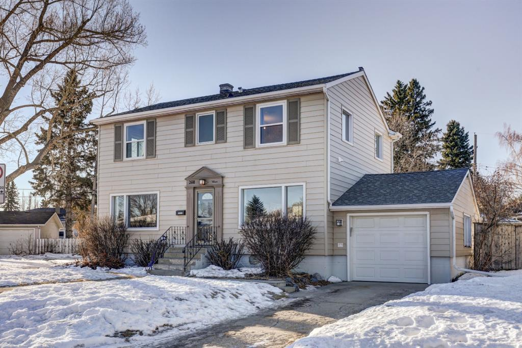Fantastic opportunity for BUILDERS and INVESTORS. This prime large (8804 SF) corner lot with southwest facing backyard is zoned R-C2. Minutes walk to William Aberhart High school and University C-train station.  LEGAL basement Secondary suite has a separate entrance, 1 bedroom, 1 den (can be easily converted to a bedroom), a kitchen, a full bathroom and it?s own laundry facilities. You can easily live up and rent down. Main floor has a large living room, bright kitchen, and a formal dining room. Upper floor consists of a large master bedroom with an ensuite full bathroom, 2 more good size bedrooms, one more updated full bathroom and second floor laundry. This home is updated over the years with newer siding, some second floor windows, kitchen, bathrooms and hot water tank, new floor in basement. View video for enjoying this beautiful home with attached garage in desirable community-Banff Trail.
