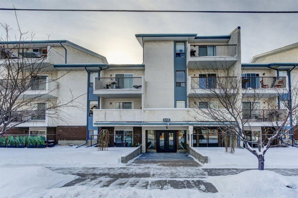 TOP FLOOR, 2 bedroom home in Trendy Bridgeland with corner fireplace.  Fabulous location with access to restaurants, grocery store, cafes,  shops, parks and pubs out your front door. Leave the car inside in the heated underground parking stall. Easy access to downtown, river path system, cycle track (building has a bike storage room!),  East Village and all the amenities of Inner City Living. Functional kitchen open to dining room and spacious living room with corner electric fireplace and access to balcony overlooking heritage buildings. Two bedrooms, large separate storage room, 4 piece bath and in-suite laundry hook-ups.  Well run building complete with newer elevator, roof, patio doors, security, and parkade upgrades completed in recent years, windows to be done shortly.