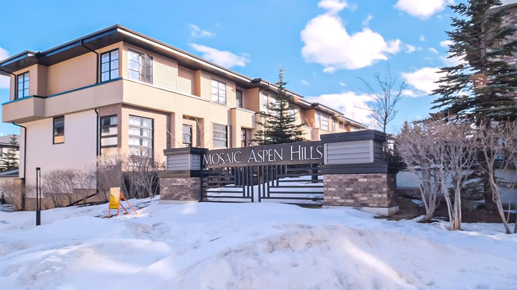 Come and enjoy this beautiful 2-Storey condo locate in the highly desirable community of Aspen. Your front door walks out onto a beautiful green-space and park, where you will enjoy the tight-knit community feeling of the complex ~ Mosaic of Aspen Hills. Inside, you will be offered all the updated features you'd desire, including hardwood on the main floor, open-concept in the kitchen, granite counter-tops and island, updated cabinets and backsplash, and a fresh coat of paint completing the property. Built with 2-Master Bedrooms both with their own ensuites, you'll enjoy convenience, privacy and comfort. Your double-car attached garage stores your prized vehicles safely, while keeping you warm come the winter months. The complex itself is located near all amenities, public transportation, and major transportation routes to get you where you need to go. When the sun is out, enjoy sitting on your front patio as you watch families and children play! Book your showing today!