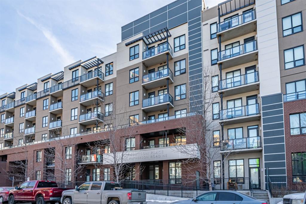 Incredible value in this extremely competitively priced and spacious 1 bedroom condo, in one of Calgary's favourite communities of Bridgeland. Located just a very short walk away from the c-train station, the areas great parks, coffee shops, restaurants and local businesses. Inside you'll find a nearly new condo with low maintenance flooring with an open floor plan. The kitchen features loads of cabinetry and stainless steel appliances with an oven that has still never been used. A large kitchen island sits 3 stools and open onto a large living room and flex room set to the side that makes a great dining room or can also work well as a home office. Large bedroom with a sliding barn door and a double sided walkthrough closet directly into the 4 piece bathroom. The bedroom and living both face south and offer unobstructed views of the river and downtown. Relax on the south facing deck with its natural gas line for your bbq. The building has several businesses located on the main floor with Kids-U Child care and a fitness studio. Out back of the building there is a large green space and patio area for the building residents. Great for a place to retreat with groups of friends and family or for those with pets with an on-site fenced in dog run. Includes a secure, titled, underground heated parking stall. Quick access to St. Patricks Island, the Calgary Zoo and excellent pathways for walks, or bike rides along the river. An excellent opportunity for first time buyers. This unit would also make a great low maintenance investment property at todays incredibly low interest rates.