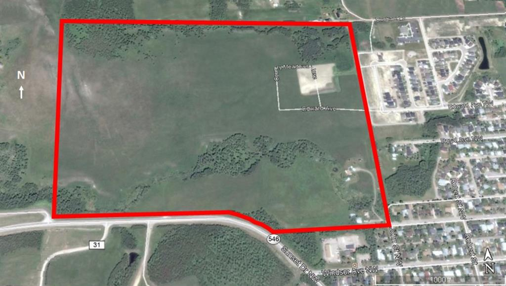 ** ESTATE SALE ** Very rare and unique INVESTMENT opportunity! This 115-acre parcel is nestled in the foothills of the Rocky Mountains at only five minutes to Kananaskis Country, and at the edge of the Town of Turner Valley. This parcel is being suggested in the municipal Economic Development Plan to be annexed to the Town of Turner Valley. The parcel is gently sloped with great building sites with spectacular views, including some with mountain views, and has several springs and a year-round creek that runs through it. With over 1,800 feet of direct highway exposure, THIS OPPORTUNITY MAKES FOR A GREAT MIX OF NEW COMMERCIAL AND RESIDENTIAL DEVELOPMENT. There are several access points via town roads, and via Highway 546 (Sunset Drive) along the southern property line. All services (electricity, water, sewer, natural gas, etc.) are installed along the east property line where it borders with the Town of Turner Valley. At three blocks to the town elementary and junior high school, 5-minute drive to the regional high school, 25-minute drive to Calgary city limits, walking distance to the Sheep River, 2-hour drive to British Columbia; this parcel is ideal for the potential development of a residential subdivision. This land has clean soil with no known pipelines running under it. It had two wells on it, one of these has been removed and the surrounding area has been completely remediated. One orphan well that is inactive still remains on the property. Included are two residential dwellings: dwelling one was built in 1997, has an area above grade of approximately 1,100 sq ft, 2 bedrooms, and 4-piece bathroom; dwelling 2 was built in 2001, has an area above grade of approximately 1,300 sq ft, 2 bedrooms, 4-piece bathroom, and 3-piece ensuite bathroom. No trespassing, viewing by appointment only. Offers must be left open for 30 days.