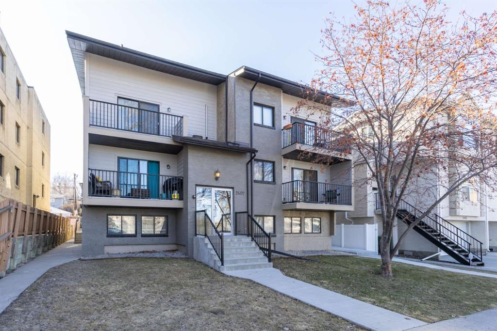 """BEST VALUE IN in the heart of Bankview!  Located directly across the street from park, basketball and tennis courts, steps form public transportation and close to shopping and amenities.  This 600 sf unit features a functional living/dining space with a raised breakfast bar, 2 generous bedrooms, large windows, neutral colours, new tile tub surround, in suite washer and dryer and Ikea kitchen with a corner sink.   Ideal for first time buyers looking to enter the market or investors looking for passive income.  Property is currently rented out.  It's a must on your """"must see"""" list!"""