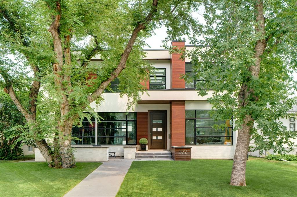 Stunning contemporary executive family home in popular Elboya location- a very short walk to the highly ranked  Elboya k-9 school, playground, shops of Britannia + pathway system as well as the Calgary Golf+ Country Club, Glencoe, 4th street shopping + downtown.  Families love this location !!!    Absolutely gorgeous + very bright with an abundance of natural light. Pleasing curb appeal with 9 foot wood + glass front door, entrance with 22 foot white quartz feature wall + floor lighting, main floor office, spacious dining room with built in custom walnut cabinetry, ideal for large family gatherings + entertaining .  Chef?s kitchen with royal white handstone topped island, professional appliances, butler pantry + stunning glass wine storage with capacity to hold 350 + bottles. Great room is large + features a beautiful marble wall with custom UV paneling + hideaway big screen television. Exceptional mudroom with 5 built in lockers. Upstairs there are 3 bedrooms + laundry room with double washers + dryers. The primary bedroom  is dreamy with a dual sided fireplace, walk in closet with floor to ceiling built ins, spa ensuite bath with dual vessel sinks , heated flooring , large steam shower + soaker tub. The two kids  bedrooms are both  ensuited. The lower level is custom finished with commercial grade polished + heated concrete flooring, family room with gas fireplace + full bar with built in beverage fridge, sink, garburator + dishwasher. Cozy media room with wall surround sound + custom built ins, gym, 4th bedroom + full bath. Fabulous backyard living space ideal for outdoor entertaining with fireplace, spacious seating area + triple garage. Floor to ceiling windows, loads of skylights, 10 foot ceilings on main floor, engineered wide plank hardwood flooring, open riser staircase with glass + stainless railings 4 gas fireplaces, air conditioning, loads of built ins + storage throughout.