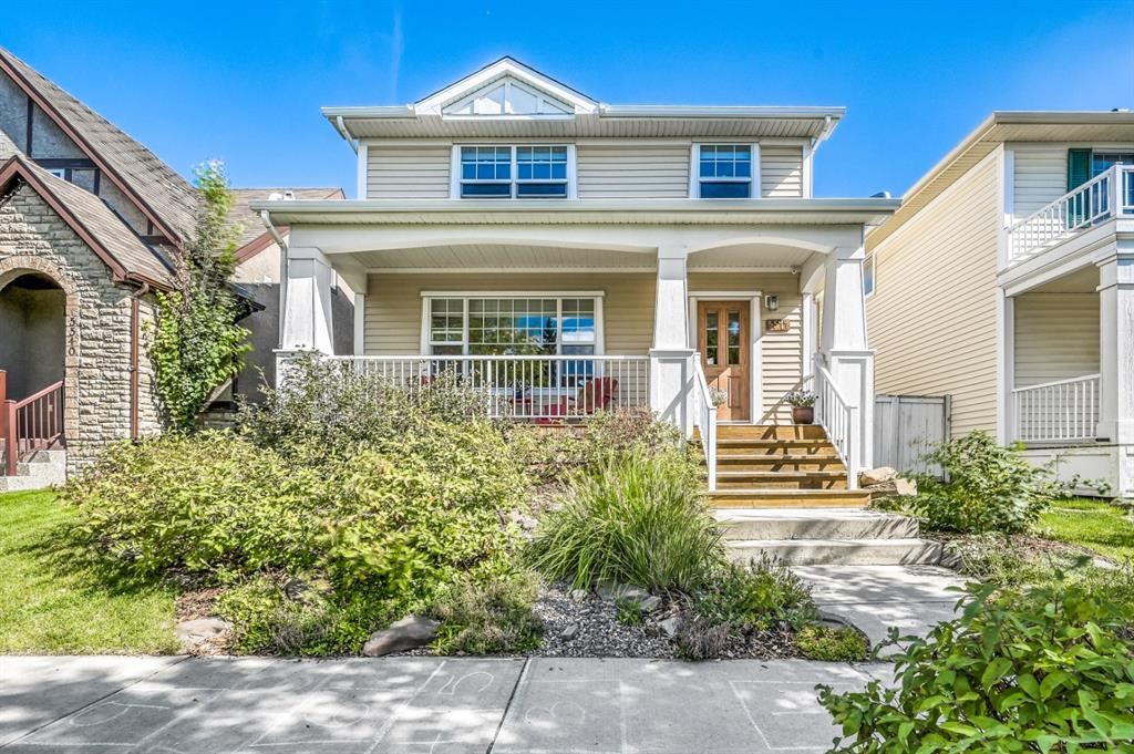 Spend less time commuting and more time living in this gorgeous home in the historical community of Garrison Green. This special, family-friendly community pays tribute to Canadian Peacekeepers and officers an outstanding inner-city location perfectly balancing amenities with recreation. The full width covered veranda adds to the curb appeal, greets guests and enjoy morning coffees with charming street views. The interior is equally as impressive with gleaming hardwood floors, an abundance of natural light and an open and airy floor plan. Relax in front of the gas fireplace in the inviting living room while oversized windows spill in sunshine. The kitchen is any chef?s dream featuring a massive L-shaped breakfast bar island, gas stove, and a plethora of rich cabinetry that contrasts beautifully with the timeless, white subway tile backsplash. Adjacently the dining room centres the open concept space with clear sightlines for unobstructed conversations, perfect for entertaining. A privately tucked away powder room completes this level. 2 spacious and bright bedrooms are on the upper level including the master oasis boasting a huge walk-in closet and private 4-piece ensuite. Gather in the finished basement over an engaging game or movie in the rec room and still have plenty of space for a home office, play area or gym equipment. This level is also home to a great flex space that can be used as a guest room, hobby room or office. Endless additional entertaining options are found on the expansive backyard deck with gas line or around the built-in firepit. The tranquil yard also boasts a heavenly vegetable garden, a ton of grassy play space for kids and pets all privately nestled behind the double detached garage. Garrison Green offers a ton of parks, playgrounds, green spaces and walking/bike paths. This young and vibrate community is a hidden gem, within walking distance to Mount Royal University and takes advantage of the many amenities, award-winning restaurants and 