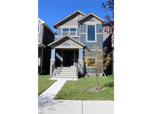 Upgraded Shane-built 1,506 sq ft, 3 bedrooms, 2.5 baths starter home in Skyview Ranch w/ open contemporary floor plan, gourmet kitchen & upstairs laundry! The master bedroom comes w/ a full en-suite & walk-in closet. The fully upgraded kitchen features stainless steel appliances, large island & granite counter top. The kitchen & formal dining room has good quality laminate flooring & the living room is accentuated w/ built-ins & shelving w/ lighting. There is a 24'x22' poured concrete extended pad at the backyard for a double detached garage. The basement is unfinished & awaits your creative ideas. Now vacant for quick possession!