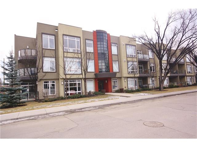 Located in the highly sought after community of Parkdale, this ground level unit in the Riverton at Parkdale awaits.  This location offers you close proximity to downtown, the Bow River Pathway system and Edworthy Park.  And if you work at the Foothills or Alberta Children's Hospitals, your only minutes away.  Your new home offers you hardwood flooring, a beautifully appointed kitchen with stainless steel appliances, wood cabinets in a dark rich stain, granite countertops, a large eating bar and room for proper dining table.  The living room is spacious with sliding door access to the west facing patio.  There are two bedrooms incl. a master suite with a 5 piece ensuite and His & Hers closets.  There is also an additional 3 pc. washroom, in suite laundry, a single indoor heated parking stall and a storage locker. as well.  In the summer, feel free to enjoy the roof top patio.  This home is sure to please.  Call today and start living in Parkdale! Builders measurements 1030. Registered size is 978 sq. ft.