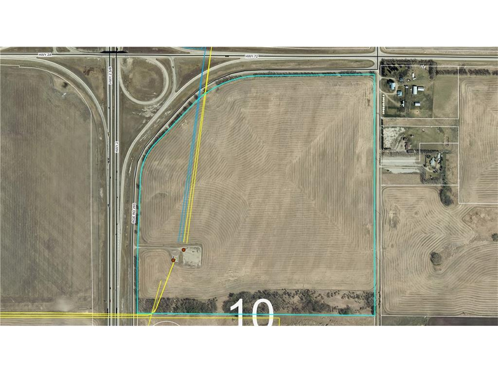 Come see a  very solid 129 + acre parcel of land bordered by a paved tree lined service road to the west with QE2 running parallel , a paved tree lined service road to the north running parallel with highway 72 and a service road on the east boundary giving this property excellent exposure. This property has an enormous amount of potential for the right applicant with its high solid ground, mountain view , proximity to Crossfield and Airdrie and great access via the over pass.Land is being subdivided.Call lister for details. Power and gas to the property. Crop and gas revenue with land also . Please call for more details.