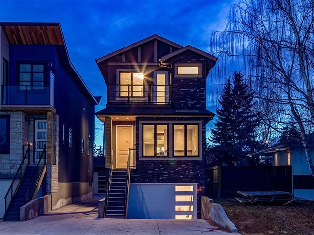 GORGEOUS + UNIQUE NEW BUILD w/over 2348 sq ft of FULLY DEVELOPED living space + TONS of INDOOR PARKING w/a DOUBLE ATTACHED AND a DOUBLE DETACHED GARAGE one w/IN-FLOOR HEAT  in SOUGHT AFTER SHAGANAPPI! TONS of HIGH END features + DESIGN that you will LOVE inc OPEN RISER STAIR CASE, GLASS RAILINGS, 9 ft ceilings, CEILING SPEAKERS, HARDWOOD floors, IN-FLOOR HEAT in the GARAGES + BASEMENT + more! Steps lead up to the WELCOMING foyer w/storage + OPEN CONCEPT main floor with living area w/MODERN ELECTRIC fireplace, GORGEOUS WHITE kitchen w/STAINLESS STEEL appliances inc GAS COOKTOP STOVE + WALL OVEN, WHITE QUARTZ counters + TILE backsplash, dining rm, half bathroom + mud rm leading to the back DECK! Upstairs is a 3 piece bathroom, laundry + 3 GOOD SIZED bedrooms all w/WALK-IN CLOSETS inc the FANTASTIC Master Suite w/BALCONY + EN-SUITE w/SOAKER TUB + WALK-IN SHOWER! The basement is FULLY FINISHED w/a BIG FAMILY rm w/FIREPLACE + BUILT-INS, 3 piece bathroom, utility rm + ACCESS to the front GARAGE! View today!!!