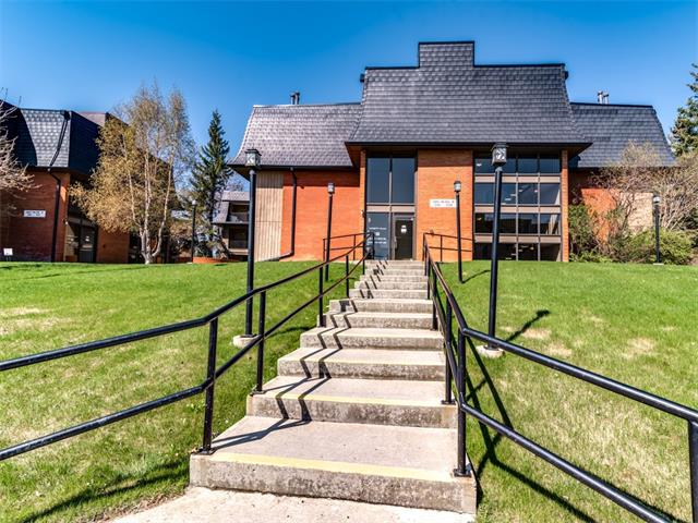 """""""One of the handiest Locations"""". This top floor single bedroom condo is only steps away from the Market Mall and Bowmont Park,natural reserve and parkway system along the Bow River  The stream lined and efficient kitchen opens to a dining area, great room with corner fireplace and completely covered secluded balcony.  Features include in suite laundry, separate storage locker and covered parking  The secure building has had many upgrades and is in spotless condition."""