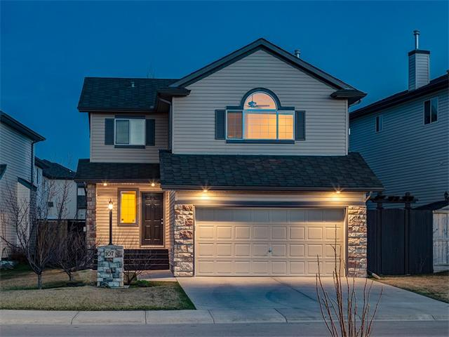 AMAZING 2781 sq ft home located in the Cimarron Community of Okotoks! W/BEAUTIFUL VIEWS OF THE PARK it is FULLY FINISHED + MOVE-IN READY! LOADED w/awesome features inc VAULTED CEILING, HARDWOOD throughout, power HUMIDIFIER, WATER SOFTENER, NEW APPLIANCES, HOT TUB w/PERGOLA + much more! The foyer has a good size closet, FRENCH DOORS to a big OFFICE/DEN, laundry room w/NEW WASHER + DRYER, storage + 2pc bathroom w/more storage! OPEN CONCEPT Kitchen w/ NEW STOVE + MICROWAVE, BEAUTIFUL light brown CABINETRY+ TILE BACK SPLASH! Living rm has a COZY gas FIREPLACE + DINING nook that overlooks the SOUTH yard w/ finished deck, PERGOLA over HOT TUB, gated lower PATIO, SAND BOX, DOG RUN + green space w/SWING SET!! Upstairs is a BIG BONUS RM w/VAULTED ceiling + corner gas FIREPLACE, a 4 pc bathroom + 3 GOOD sized bdrms inc the MASTER w/walk-in closet + 4 pc en-suite w/SOAKER TUB! The FULLY FINISHED basement ft VINYL PLANK flooring throughout, a BIG REC RM area, 4th bedroom, 4 pc bathroom + STORAGE RM!! A MUST VIEW!!