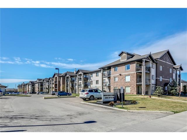 One of the largest 2 bedroom, 2 bath plans in the complex. Bonus....it's a TOP FLOOR unit with SUNNY SW views. The unit has just been freshly painted awaiting its new owner. Condo fees INCLUDE electricity. The huge Master has its own 4 piece ensuite. The second bedroom is also quite large and is next to its own bathroom and the in suite laundry. Plenty of room for a full dining table and easy furniture placement in the living room. This complex is located to EVERYTHING. Shopping, schools, all forms of Recreation and of course public transportation. It's only a few blocks away to Highway 8 where you can head west to Bragg Creek and the Mountains. Relax on your private SW facing, top floor balcony and dream of what is all around you in your new, very affordable home.