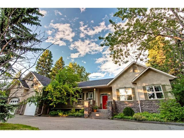 Fantastic opportunity to own one of the most esteemed properties backing onto the Bow River. Enjoy the feel of country living with wide open spaces surrounded by mature trees looking onto the river, and the convenience of being right inside the city. This custom built home features 9ft and vaulted ceilings, hardwood floors, skylights, loads of windows and a large bonus room over the garage, on a mature 0.8 Acre lot edging the bow river. The open main floor offers 3 bedrooms, huge living room, custom kitchen and laundry. Enjoy mealtimes in your formal dining room or step outside into a natural setting on your covered veranda. The newly renovated downstairs hosts 3 more bedrooms, and another great open space with a wet bar and in-floor heat. You?ll love the oversized double attached garage, with a tandem 3rd indoor parking space and rear door access. With several living spaces indoor and out, there?s plenty of choice for everyone! This is truly a remarkable inner city property with so many possibilities!