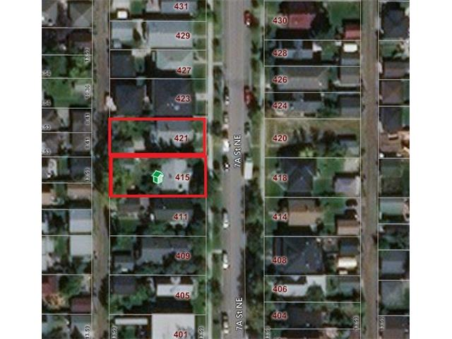 Imagine the possibilities!!!! Two lots listed separately but must be purchased together (415 & 421 7A St NE) giving you 27.16 meters of frontage. 911 sq m to build 1, 2 or possibly even 3 homes on if the city will allow. Visualize what the city views will be as you create a 2nd storey. Looking West you might get the best of both worlds & see the mountains too. These homes have great tenants in them making them a great holding property. They are well maintained with many upgrades over the years both inside & out. The location, charming suites & beautiful yards make them easily rentable. The land is amazing but the homes are a bonus. Wait until you see this gorgeous street. There are many lovely older homes that remind you of just how great this community has always been. There are, of course, stunning new homes being built as well. Bridgeland has many trendy restaurants, shops & is an easy stroll to the river pathways. Rarely do lots come up side by side in this community. Listing price reflects 1 lot.