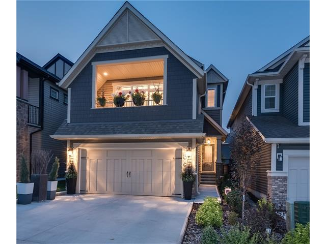 Welcome to 86 Sage Bluff View, featuring over $75k in designer chosen upgrades, this custom 2 storey split is located in SYMONS GATE - Calgary's 2016 community of the year. It's situated on one of the most private lots in the area & ideally located minutes from major routes, shopping & all amenities. This 4 bedroom, 2.5 baths home boasts modern open concept throughout with soaring ceilings, designer finishings & massive banks of windows. Quality Craftsmanship & Impeccable attention to detail is apparent throughout. Designed for a big family or for those who love to entertain, the impressive kitchen offers rich quartz counters, site finished cabinetry, oversized island & chef worthy appliances. Upper level offers a spectacular bonus room with vaulted ceilings & enclosed walkout balcony, 4 bright spacious bedrooms, laundry room & 5 pc main bath. The master has a walk-in closet & en suite. Beautifully finished by professional landscaping with 2 tier custom built deck complete this must have home.