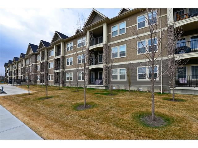 GREAT VALUE in this 2 bedroom / 2 bathroom condo.  920 sq. ft. of living space and proximity to schools, parks, South Calgary Health Campus, Seton Shopping Plaza, biking trails, amenities and so much more! This second-level unit features high 9' ceilings and an open-concept layout, showcasing a big kitchen (great for entertaining) with tile floors, plenty of counter space and lots of cupboards, while a private balcony awaits you outside the living area. The split bedroom design is great for privacy and the master boasts its own private ensuite. This unit offers IN-SUITE LAUNDRY ROUGH-IN, along with common laundry in the building, a large secured storage cage and a single assigned parking stall. Outstanding value, great location and move in ready!