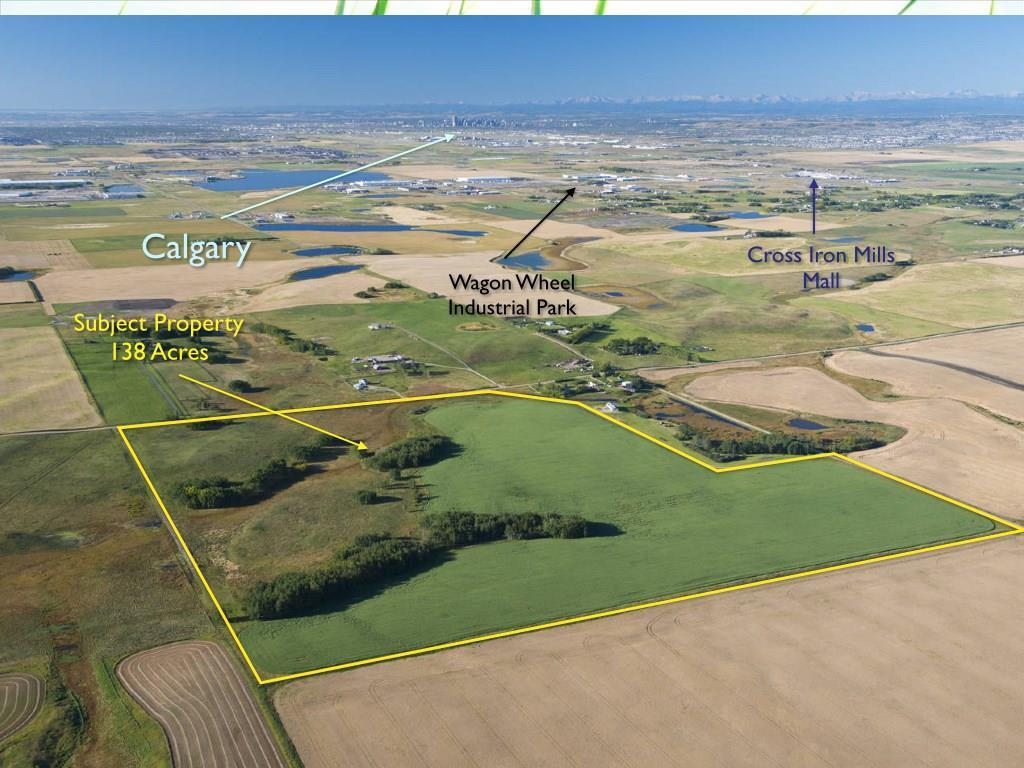 Investment opportunity! 138 acre parcel located directly south of the Airdrie Airport and only 4 miles from the Cross Iron Mills Mall, Wagon Wheel Industrial Park and Century Downs race track. Ideal holding property as this parcel borders the Airdrie City limits. Excellent potential for future development. Call for more information or to view property.